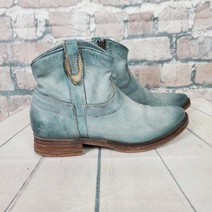 MJUS Italian Leather Ankle Booties Soft Turq 39